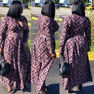 Women f print sexy dress long sleeve